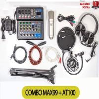 Combo Bộ Livestream Mixer MAX99 Micro AT100