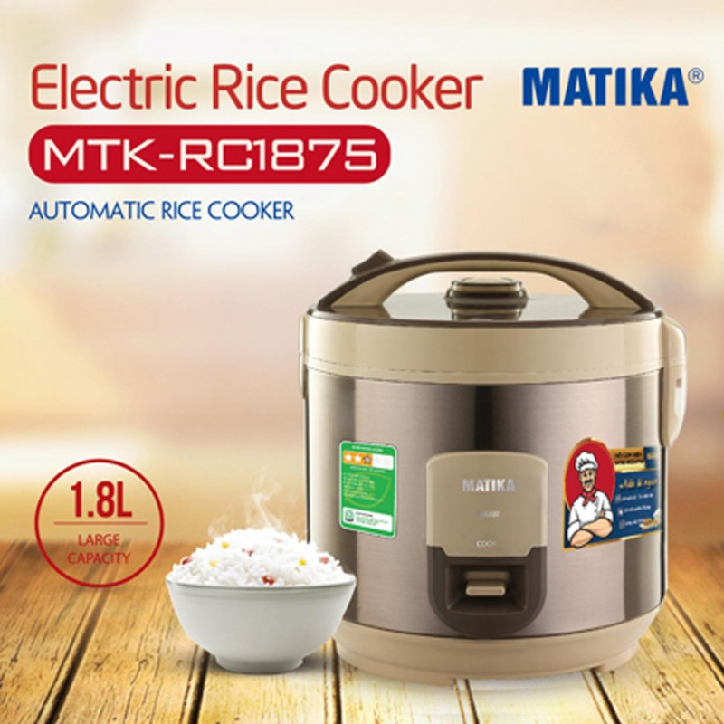 Nồi cơm điện Matika MTK-RC1875 dung tích 1,8L công nghệ nhiệt độc đáo